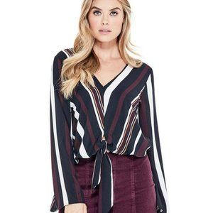 Guess Cassia striped tie front V neck blouse